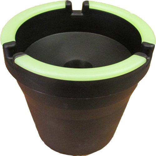 CigarExtras 582130 Stub Out Glow in The Dark Cup-Style Self-Extinguishing Cigarette Ashtray, Black (Pack of 11)