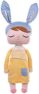 Primo Passi MeToo Doll Angela Vintage Super Soft Plush Stuffed Bunny Doll Baby Girl Rabbit Retro Style I Kids Idea I Baby Girl's Sleeping Partner I Best Friend (Yellow-Blue)