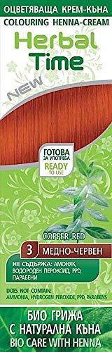Crème colorante capillaire avec du Henné et l'extrait d'ortie - Couleur Cuivre Rouge 3, Sans Ammoniaque, Sans Sulfate, Sans Parabens