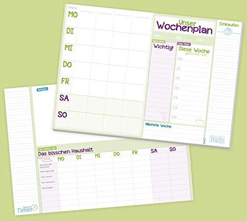 4-spaltiger Family Wochenplaner Block A4 mit Essensplan und Einkaufsliste, 50 Blatt| Familien-Planer mit extra viel Platz für Notizen und TO DOs | nachhaltig & klimaneutral
