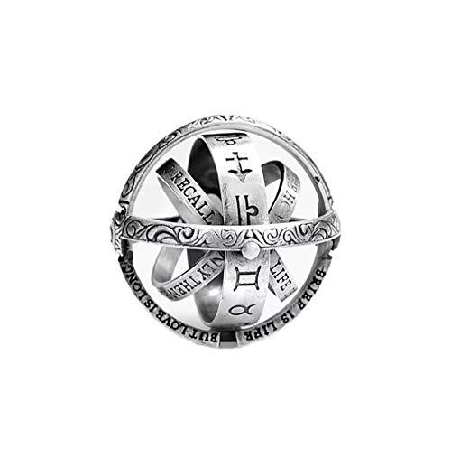 24 JOYAS Anillo Astronómico Bola de Metal Creativa y Giratoria. Alianza de joyería mística y romántica, Regalo para Hombre y Mujer Color Plata Vieja. (18)