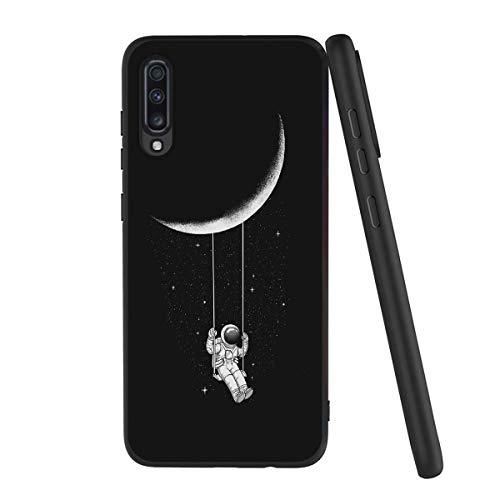 Yoedge Cover Samsung Galaxy A70, Sottile Antiurto Custodia Nero Silicone TPU con Disegni Pattern Ultra Slim 360 Protective Bumper Case per Samsung Galaxy A70, Astronauta