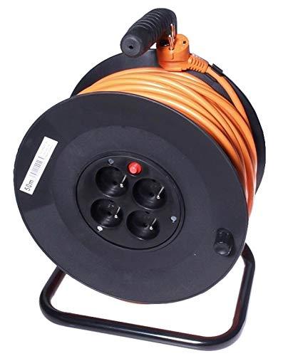 PremiumCord verlengkabel 4 x stopcontact. 50 m oranje