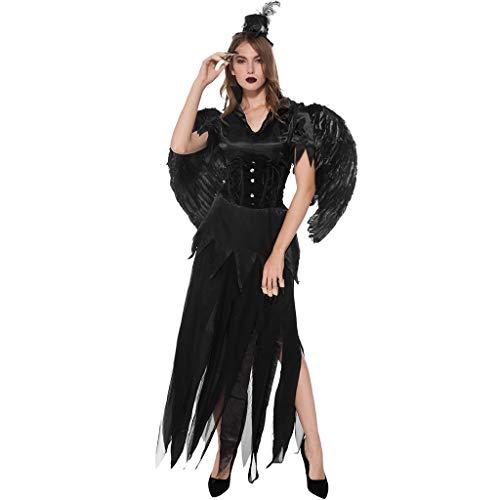 Vrouwen Halloween Zwarte Engel Kostuum - Hoeden + Veren + Jassen + Rokken + Taillebanden + Vleugels - Legends of Evil, Halloween Cosplay Kleding