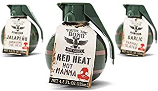 Thoughtfully Gifts, You're the Bomb Hot Sauce Gift Set, Includes Garlic Hot Sauce, Red Heat Sauce & Jalapeño Hot Sauce, Pack of 3, 4.6 Ounces Each