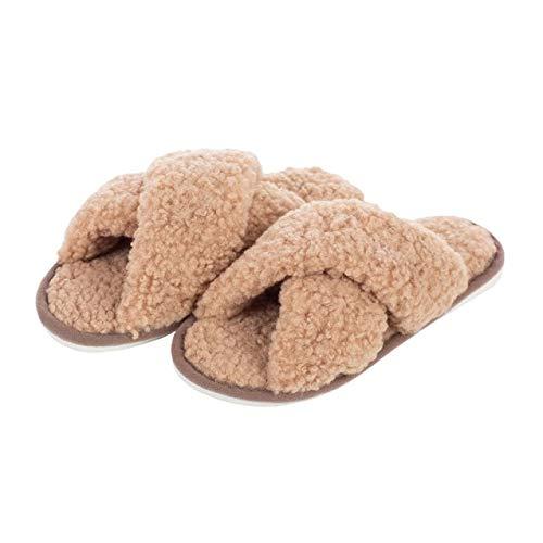 Tigerstars Fluffy Tan Teddy Open Toe Indoor Slippers