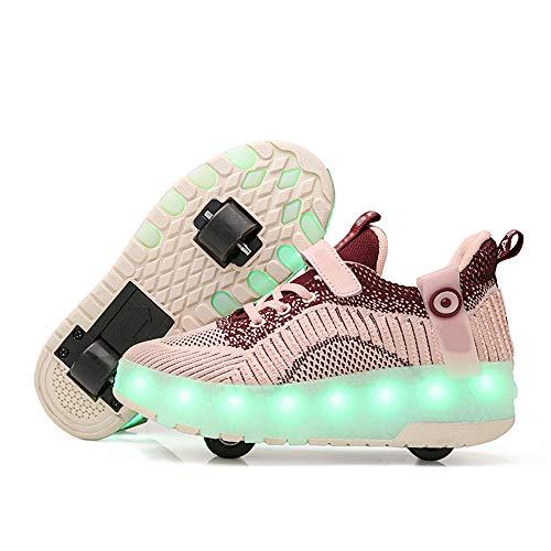 SSCYHT Zapatos con Ruedas Zapatillas para niños y niña Led Luces Zapatillas con Ruedas Se Puede Bambas con Ruedas Automática Calzado de Skateboarding,Rosado,36