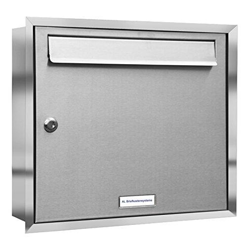 AL Briefkastensysteme 1er Unterputzbriefkasten, Briefkastenanlage 1-Fach modern, Edelstahl Postkasten
