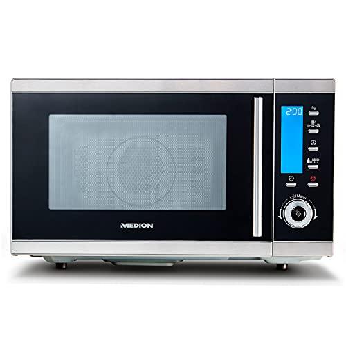 MEDION MD 15501 4 in 1 Mikrowelle mit Grill (25 Liter, 900 Watt, 1100 Watt Grill, 2500 Watt Heißluft, 10 Automatik-Programme) silber