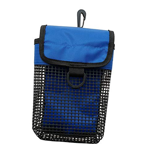 Baosity Durable Scuba Diving Reel & SMB Safety Marker Buoy Mesh Gear Bag Equipment Holder Carry Pouch - Blue, Yellow, Purple for You Choose - Blue, as described