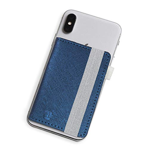 Stick-On Phone Wallet for Back of iPhone or Android Case   6 Sleeve Credit Card Holder - Pocket for Cards, Money & ID - Built-in Stand - Waterproof Material - Travel, Work & Life-Proof - Blue