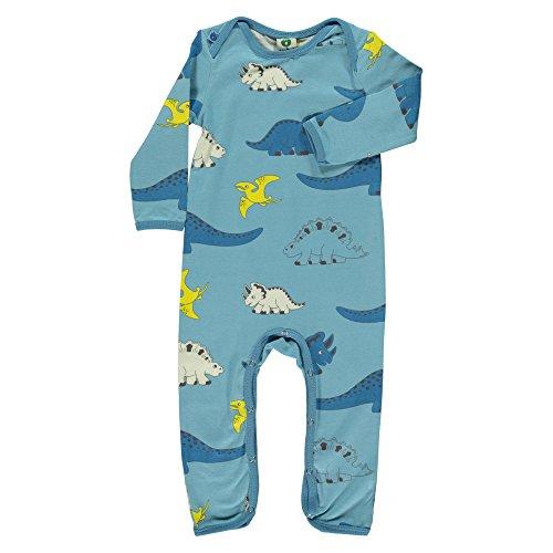 Smafolk Jungen Bodysuit Strampler Schlafanzug mit Dinos blau Bio-Baumwolle Öko-Tex Standard (74)