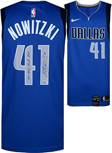 Dirk Nowitzki Dallas Mavericks Autographed Nike Royal Swingman Jersey with 11 Finals MVP Inscription - Icon Edition - Autographed NBA Jerseys