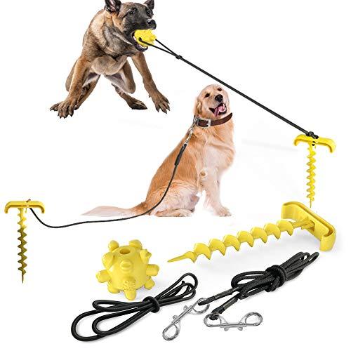 Ezeso - Cable de atadura para perro, correa y estaca con perro molar juguete para entrenar al aire libre camping fuera de patio, ancla para perros medianos a grandes (amarillo)
