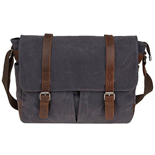 Waterproof Waxed Canvas 15' Macbook pro/ 14'' Laptop Messenger Bag Men Business Vintage shoulder bag/Briefcase