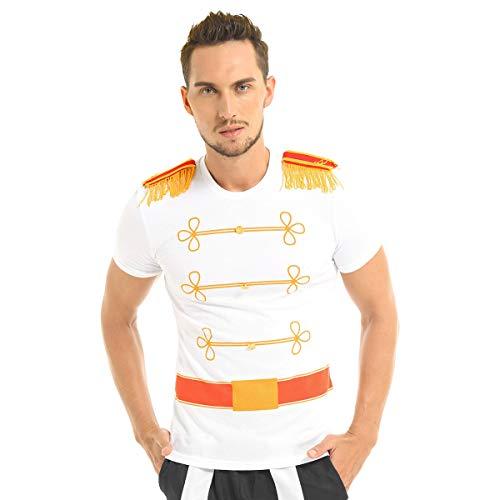 inhzoy Disfraz de Príncipe Cenicienta para Hombre Camiseta con Charreteras Cosplay Chico Traje de Príncipe Real Lujoso para Fiesta Halloween Carnaval