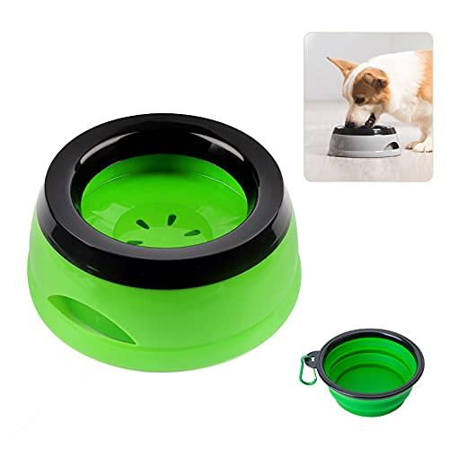 Wassernapf Hund Unterwegs, 750ml Auslaufsicher Spritzschutz praktischer Reisenapf für Hunde Katze und Zusammenklappbare Schüssel mit Karabinern, Haustierwasserschale für Auto (Green)