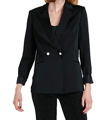 Ashley Brooke Blazer Satin-Blazer eleganter Damen Business-Jacke Ausgeh-Blazer Langarm-Blazer mit Knopfverschluss Schwarz, Größe:44