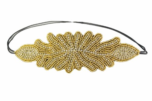 Pink Pewter Authentic 'Polly' Gold Beaded Stretch Band Headband Hair Jewelry