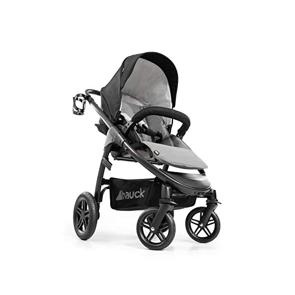 Hauck Hauck Unisex Promenade Chaises Black/Grey Hauck Maximum comfort: backrest and footrest adjustable to the lying position, extra large canopy, height adjustable handlebars, cup holders and foot covers All terrain: the stroller is suitable for both the city and the countryside thanks to the suspension, the high-quality rubber profile and the swivel and lockable front wheels. Swivel: The lightweight sports chair with removable front bar can be rotated towards parents or in moving direction easily in a few seconds. The chair supports a weight of up to 25 kg. 11