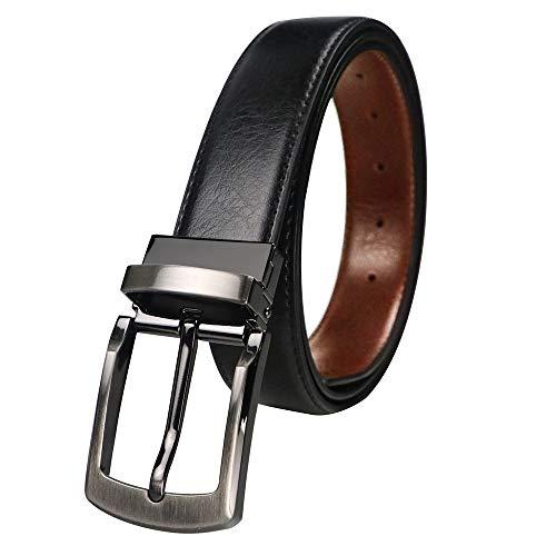 BIGHAS ベルト 両面用 3.5cm ピン式 バックル 単品 本革 メンズ ベルト 回転可能 ビジネス カジュアル 兼用 バックルのみ ベルトのみ 交換用 箱付き (セット130cm, b203GY)