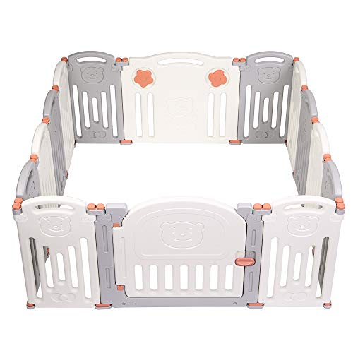 JOYMOR Baby Playpen 14 Panels Foldable Play Fence Portable BPA-Free Safety Play Yards Kids Activity Center w/Locking Gate Home Indoor Outdoor (Gray Beige 14 Panels)