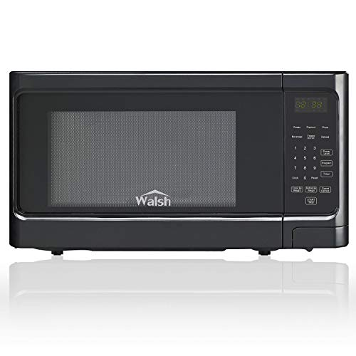 Walsh WSCMS311BK-10 Countertop Microwave Oven, 6 Cooking Programs LED Lighting Push Button, 1.1 Cu.Ft/1000W, Black