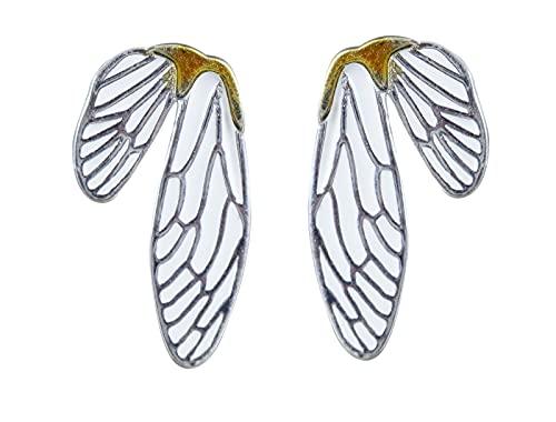 NicoWerk Pendientes de plata de ley 925 para mujer, diseño de alas de zig-libélula, dorado y blanco, SOS450