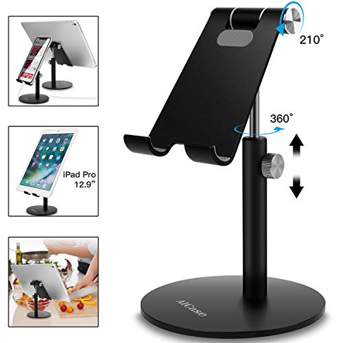 AICase Tablet/Phone Stand, Universal Adjustable Aluminum Desktop Stand, for New iPad 2018 Pro 10.5/9.7/12.9, Air mini 2 3 4, Samsung Tab, Other Smartphones and Tablets (4-12.9 inch) - Black