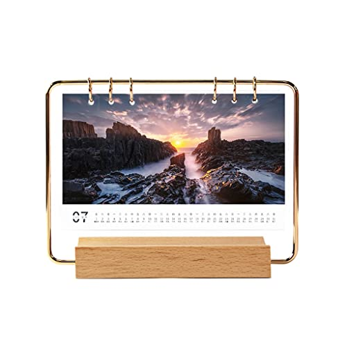 LUYTW Iron art Desk Calendar 2022 Standing Flip Desktop Calendar with Solid wood base,with Memo Pages and Blank Blocks 7″x 7.3″