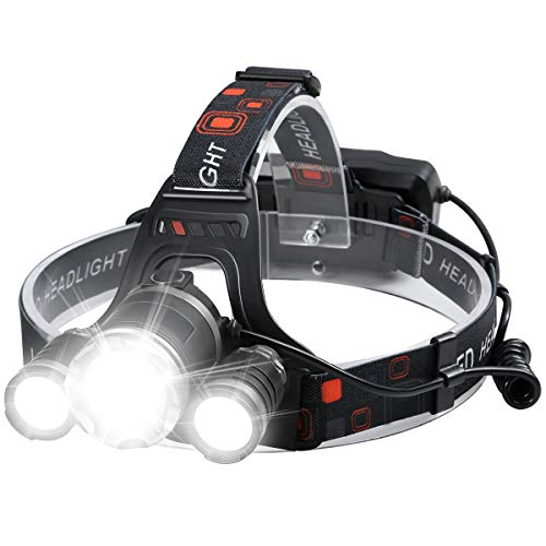 Headlamp, Rechargeable Headlamp for Adults 6000 Lumens Super Bright Zoomable Headlight 4 Modes 90° Adjustable IPX5 Lightweight Headlamps for Camping Running Fishing Outdoors