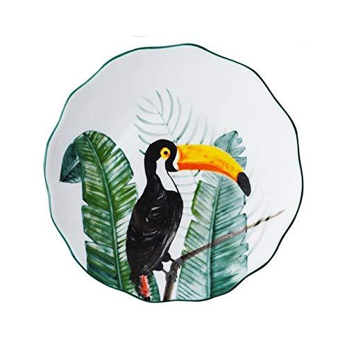 yywl Plato de Cena Pintado a Mano 8 Pulgadas Bird Plato Sub-esmaltado Platos de la Cena de cerámica Postre Bandeja Flor del Loro Vajilla for microondas (Color : D)