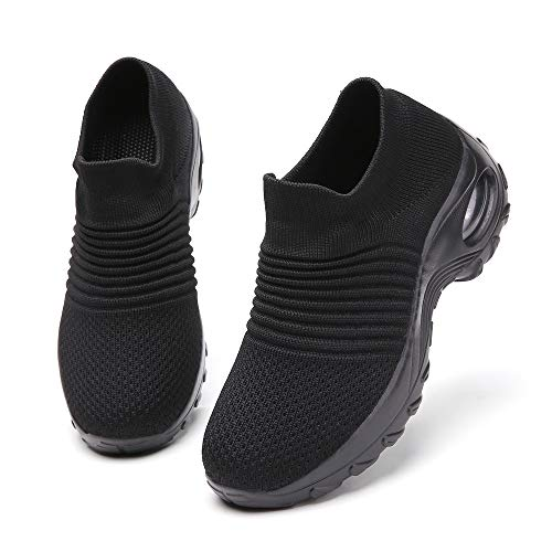 All Black Shoes for Women mesh Breathable Slip on Sock Fashion Sport Running Tennis Athletic Walking Shoes Ladies Casual Sneakers Size 8