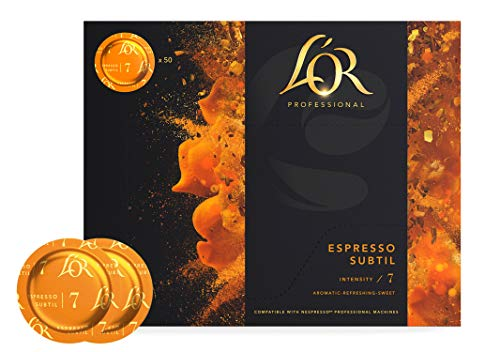 L'OR Supreme Nespresso®* Pro kompatible Kapseln, Pads, 50x Lor Espresso Subtil Kaffeekapseln, Vorratspack (Intensität 7/10), nachhaltig zertifizierte Kaffeepads