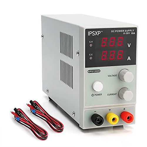 IPSXP Fuentes de Alimentacion Regulables, Fuente de Alimentación de Laboratorio DC 0-30V / 0-10A Regulable Digital Ajustable Transformador, para Laboratorio, Reparación General