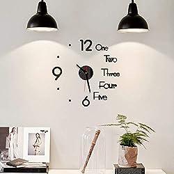 DIY Wall Clock Creative 3D Design Mirror Surface Wall Decorative Sticker Watches