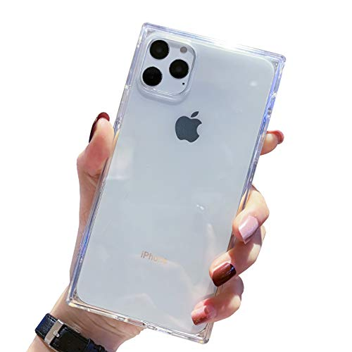 Tzomsze iPhone 11 Pro Max Clear Case, Square 11 Pro Max Cases Reinforced Corners TPU Cushion,Crystal Clear Slim Cover Shock Absorption TPU Silicone Shell for iPhone 11 Pro Max 6.5 inches (2019)-Clear