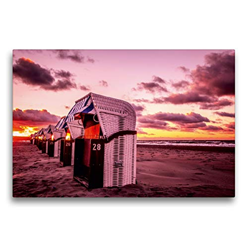 Premium Textil-Leinwand 75 x 50 cm Quer-Format Strandkörbe in Warnemünde | Wandbild, HD-Bild auf Keilrahmen, Fertigbild auf hochwertigem Vlies, Leinwanddruck von Thomas Deter