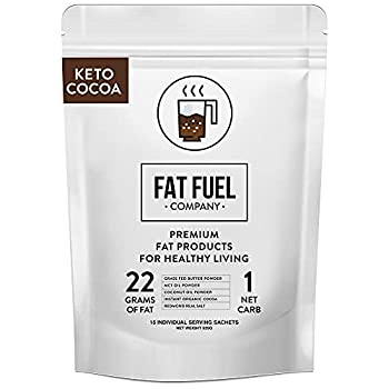 Fat Fuel Instant Keto Cocoa – a Complete Keto-Friendly Meal Replacement with MCT Oil Coconut Oil and Grass Fed Butter – Low Carb Hot Chocolate Organic  15 Packets
