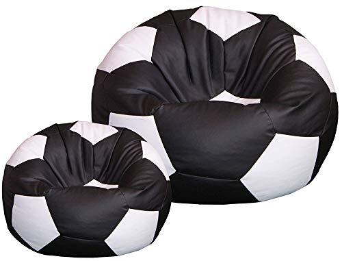 baselli Poltrona a Sacco Pouf Ø100 cm in Ecopelle con Poggiapiedi Pallone da Calcio Nero e Bianco