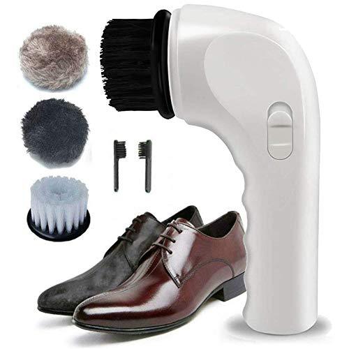 JJZRB Elektrohand Haushalt Schuhputzer Set automatische Schuh-Poliermaschine mit Bürsten Multifunktions- weicher Schuh Shiner (weiß)