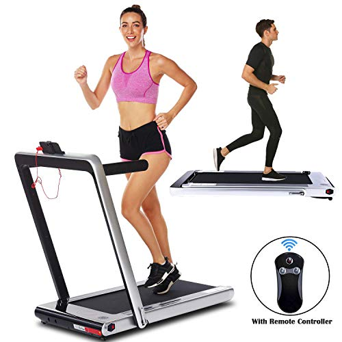 Smart Folding Treadmill,2 in 1 Electric Motorized Treadmills Portable Under Desk Treadmill Walking Jogging Running Exercise Fitness Machine with Remote Controller for Home Gym Office (2.25HP - Silver)
