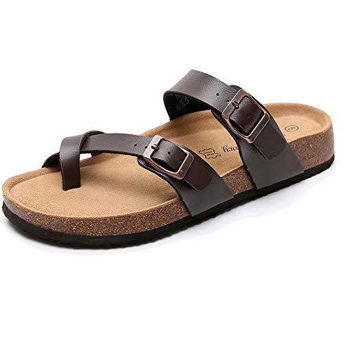 Men's Cork Footbed Sandals with Adjustable Crisscross Straps - Slip on Slide Sandals for Men, Arch Support (Size 11)