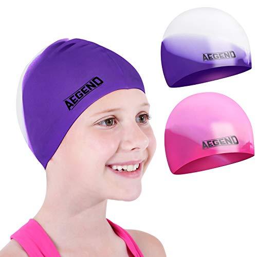 Aegend Kids Swim Cap (Age 4-8), 2 Pack, Purple & Pink