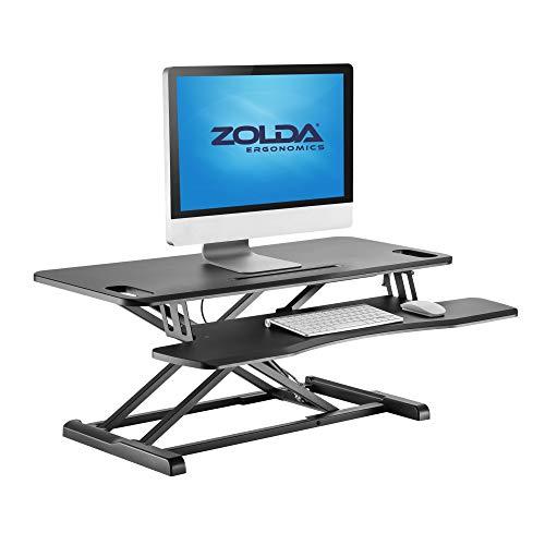 ZOLDA Premium Stehtisch-Konverter mit Tastaturablage. Stehpult-Schreibtisch-Konverter mit Gasdruckfeder und Einstellbarer Höhe für ergonomische Unterstützung der Köperhaltung. Großer (Schwarz)
