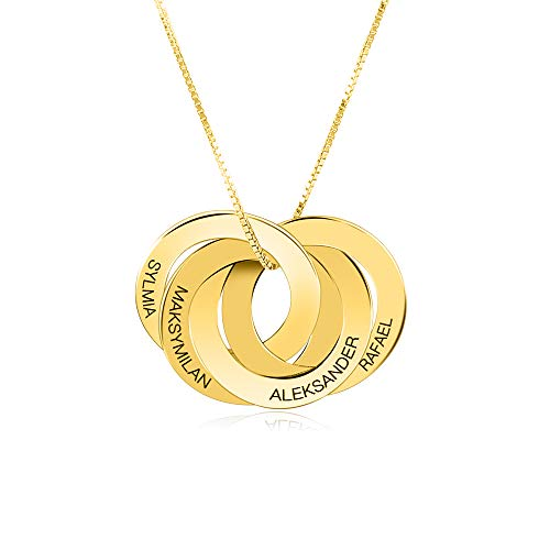 Collar Personalizado con Anillo Ruso, Grabado en Plata de Ley 925, Collar con Nombre - Joyas Personalizadas de 2 a 5 círculos para mamá