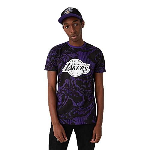 New Era NBA Los Angeles Lakers Oil Slick AOP - Camiseta para hombre, color azul y blanco, talla S