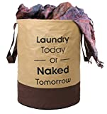 Kuber Industries Round Non Woven Fabric Foldable Laundry Basket , Toy Storage Basket, Cloth Storage Basket With Handles,45 Ltr (Beige & Brown)-KUBMART11450