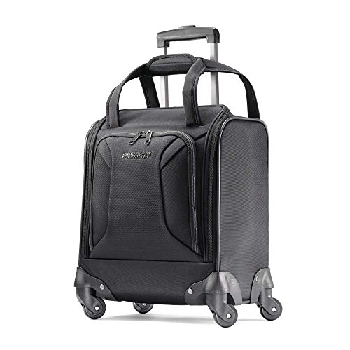 American Tourister Zoom Softside Luggage with Spinner Wheels, Black, Underseater