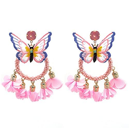Pendientes Colgantes Colgante Rosa Boho Joyas Pequeñas Mariposas Pendientes Colgantes Pendientes De...
